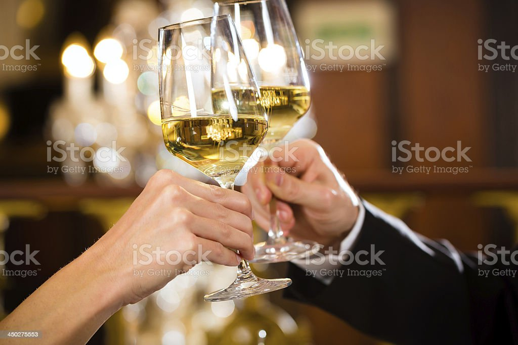 happy couple have a romantic date in restaurant stock photo