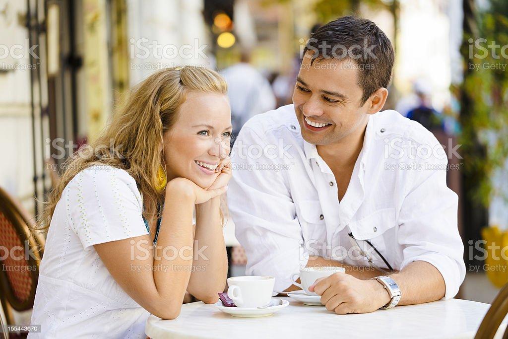 Happy couple having a coffee break royalty-free stock photo