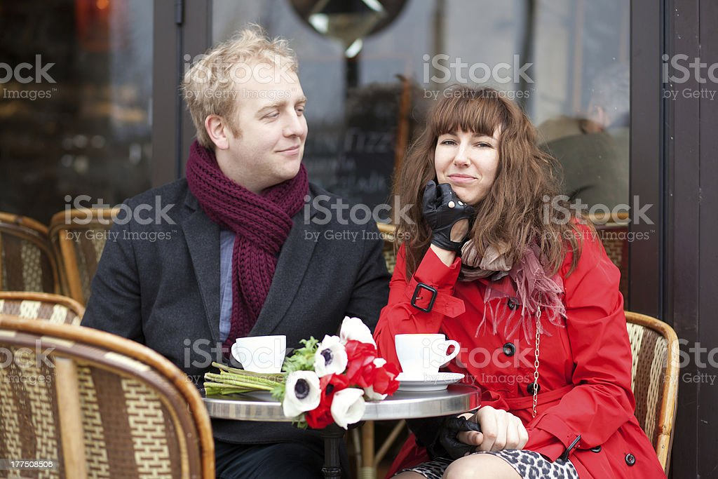 Happy couple having a date in cafe royalty-free stock photo