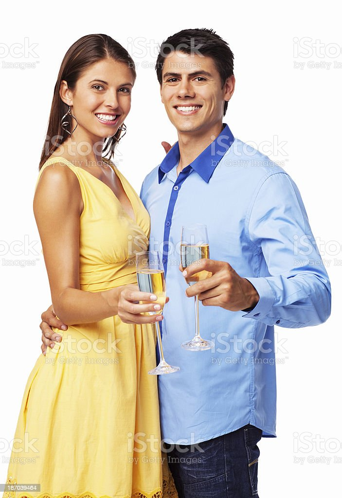 Happy Couple Having Champagne - Isolated royalty-free stock photo