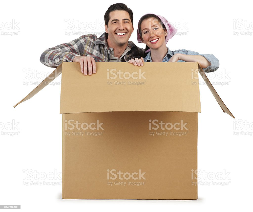 Happy Couple In A Box stock photo