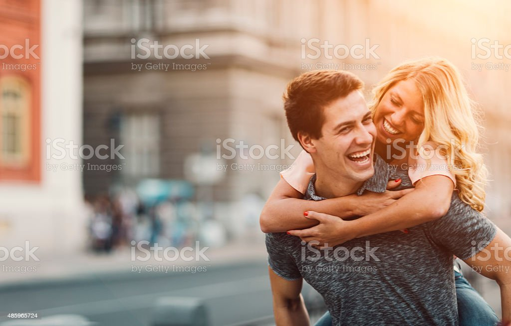 Happy Couple In A City. stock photo