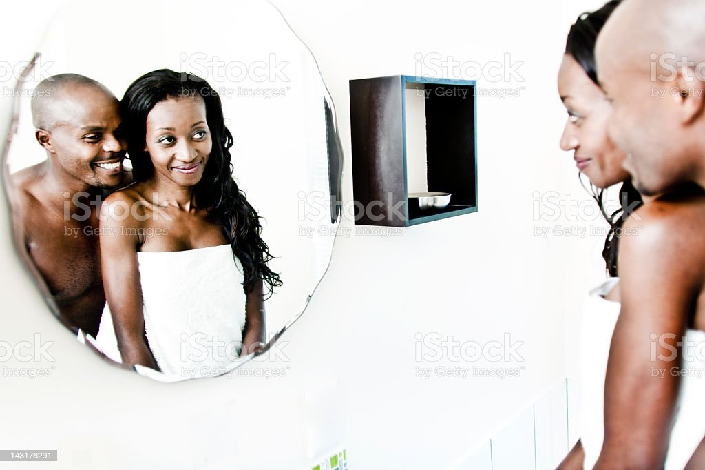 Happy couple in bathroom stock photo