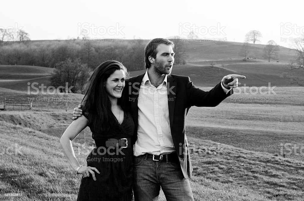 Happy couple in black and white stock photo
