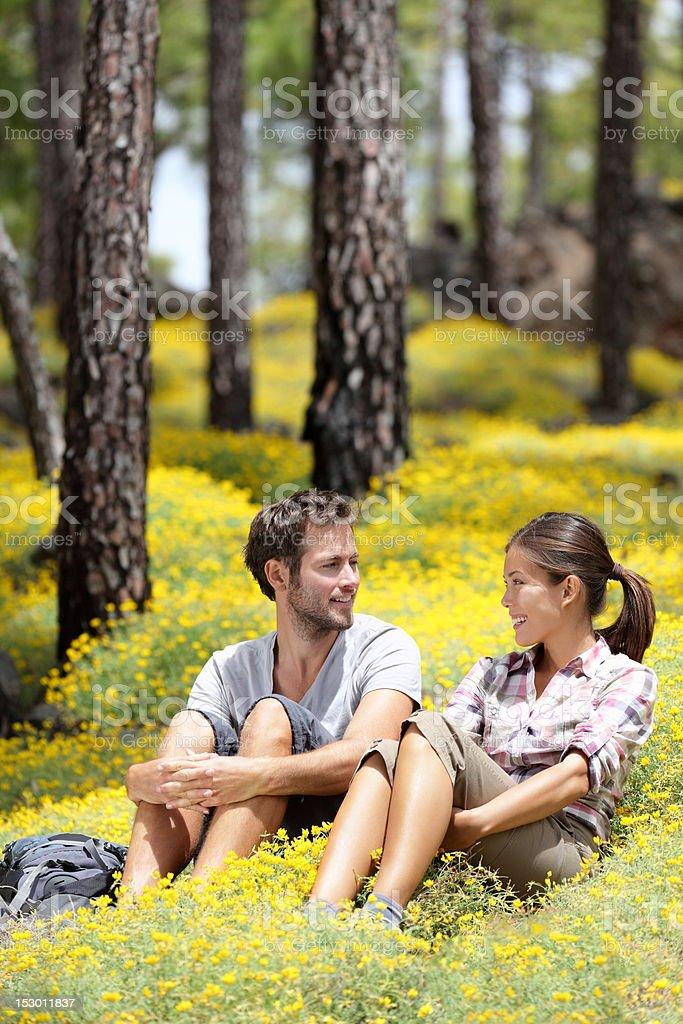 Happy couple in forest royalty-free stock photo