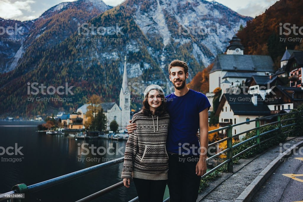 Happy couple in Hallstatt stock photo