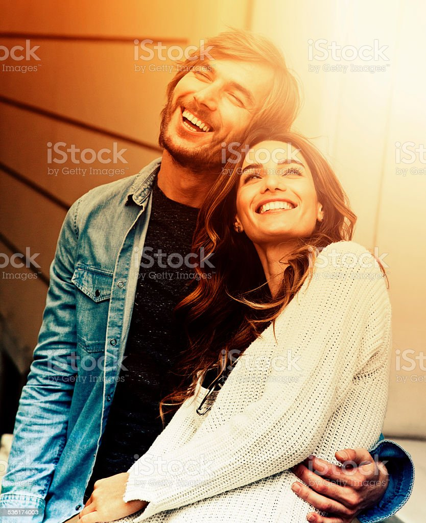 Happy couple in Istanbul. stock photo