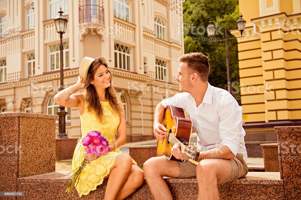Happy couple in love dating stock photo