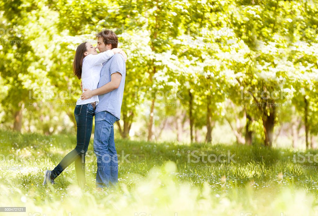 Happy Couple in Love Embracing on the Meadow stock photo