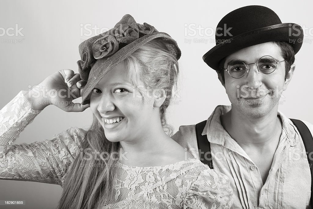Happy couple in old fashioned style stock photo