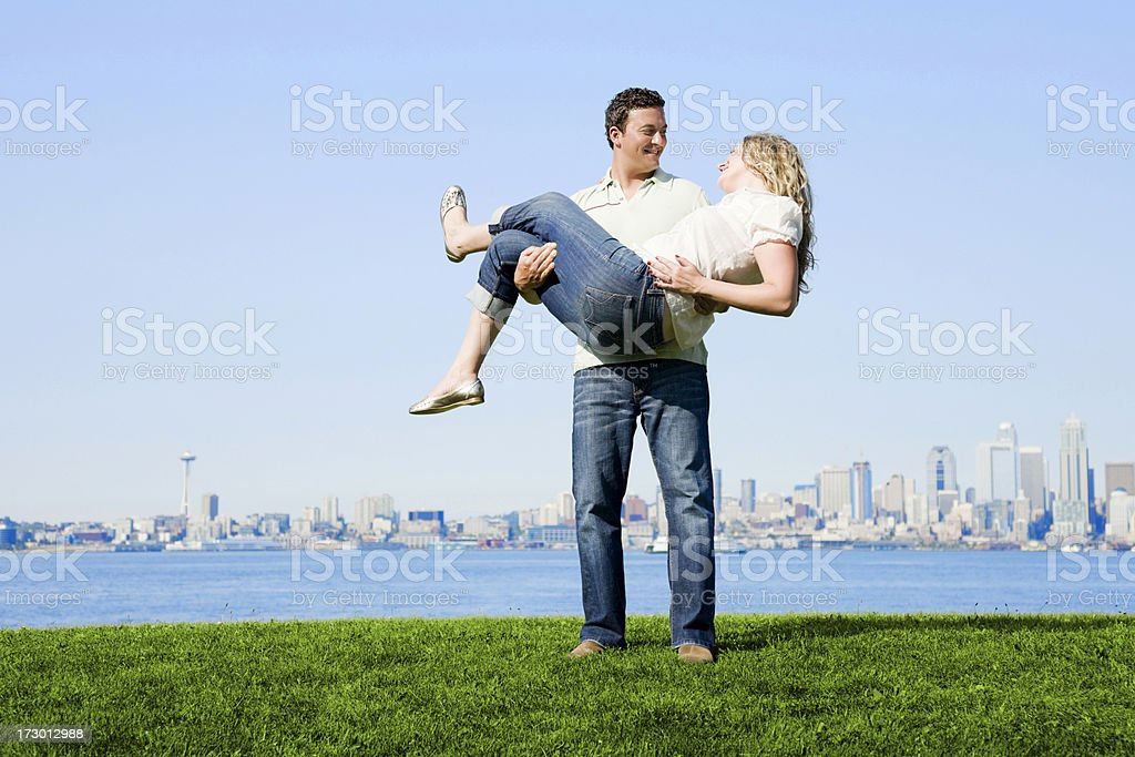 Happy Couple in Seattle royalty-free stock photo