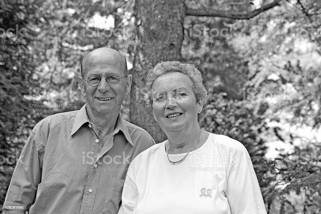 Happy couple in their sixties (B/W) royalty-free stock photo