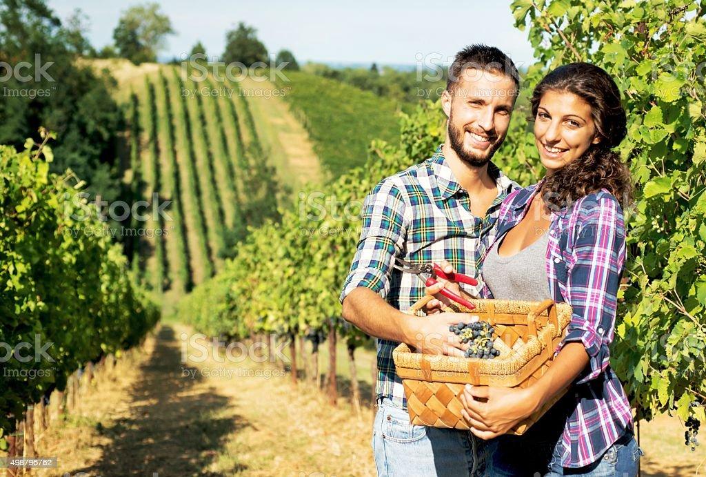 Happy Couple in Vineyard stock photo