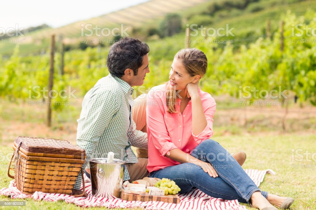 Happy couple interacting with each other royalty-free stock photo