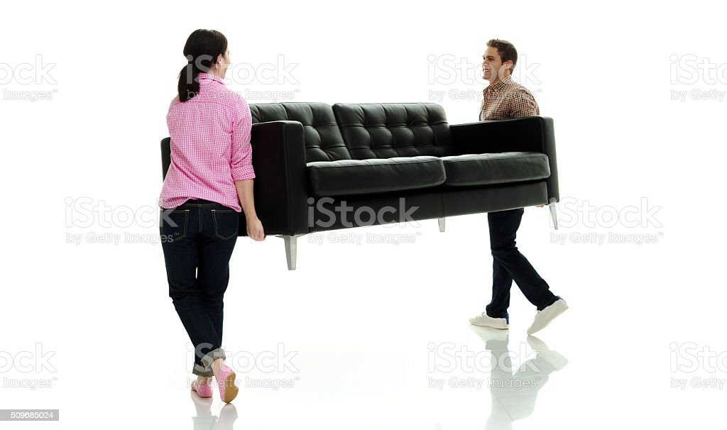 Happy couple moving stock photo