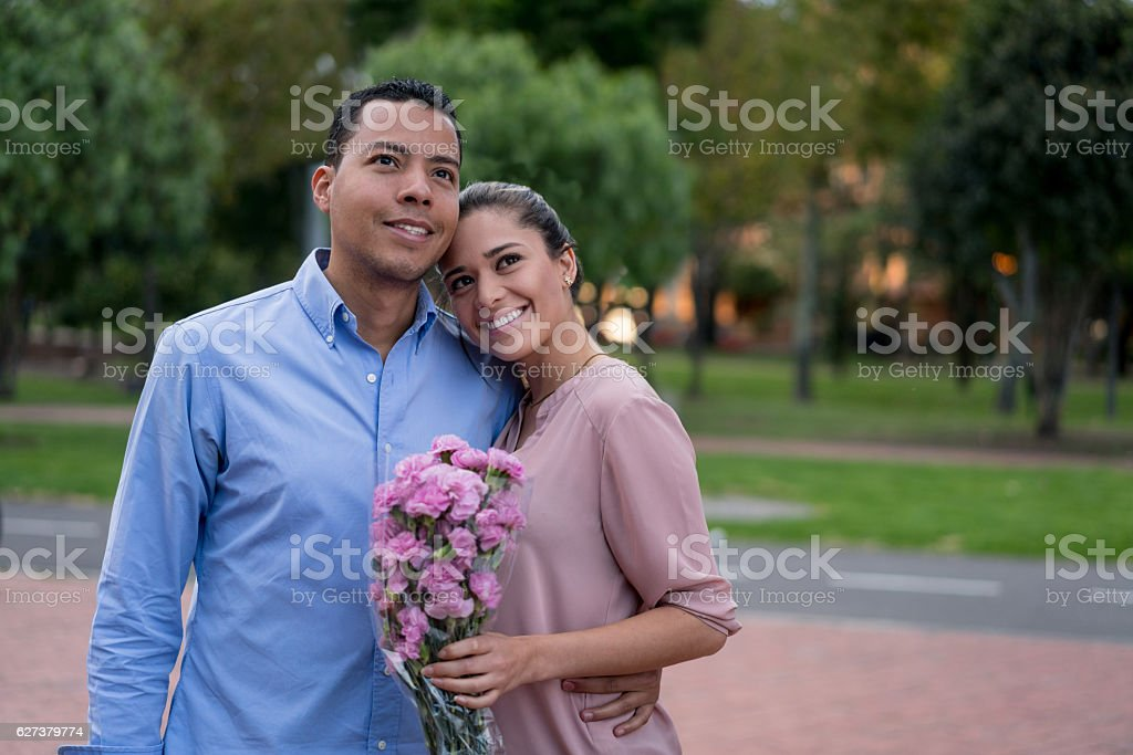 Happy couple on a date stock photo