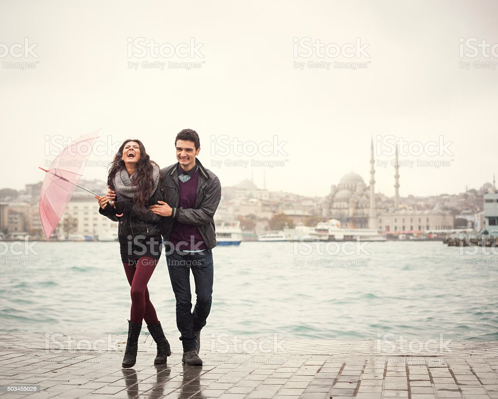 Happy Couple On A Rainy Day In Turkey stock photo