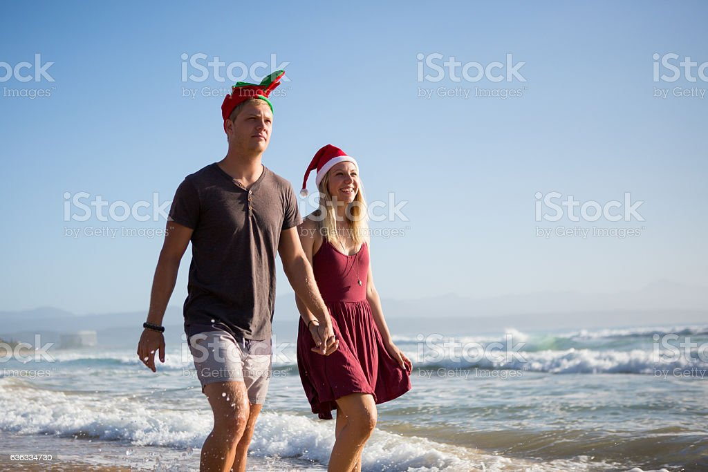 Happy couple on a South African Christmas Vacation stock photo
