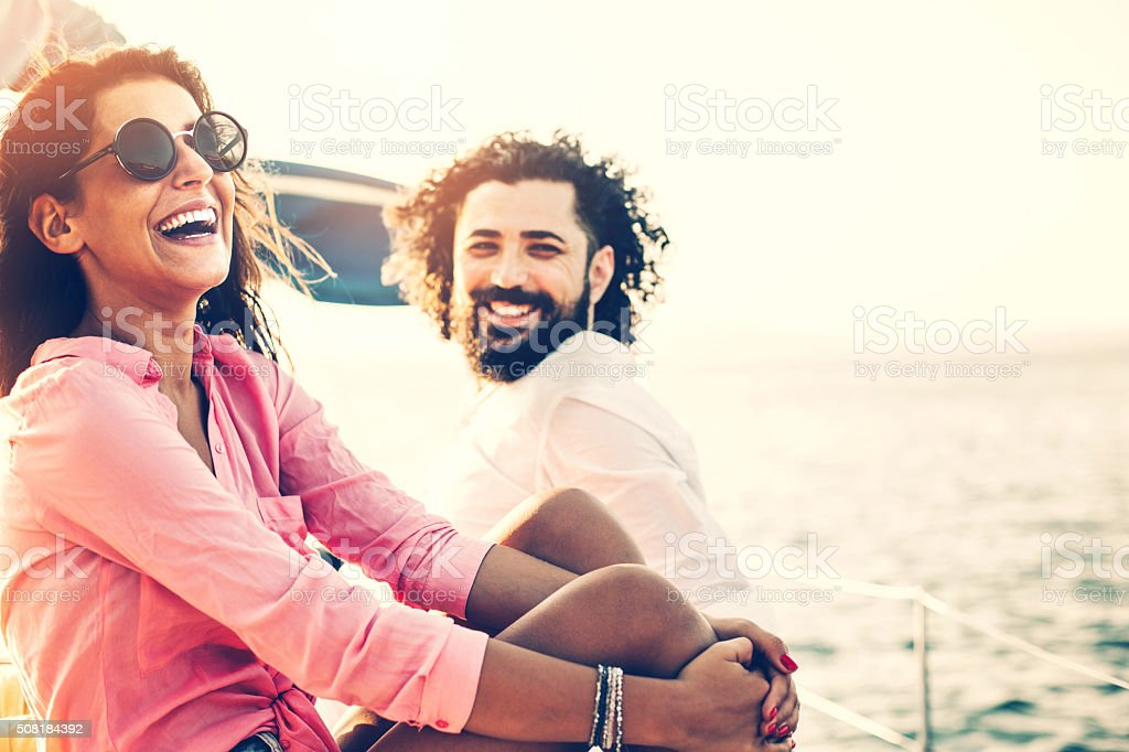 Happy couple on a vacation stock photo