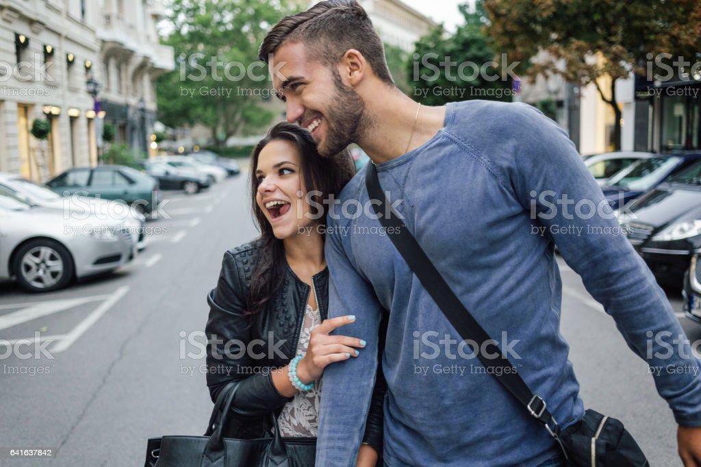Happy couple on a walk stock photo