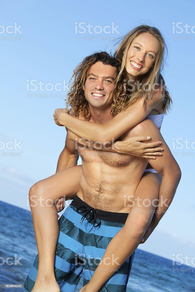 Happy Couple on Beach in Hawaii royalty-free stock photo