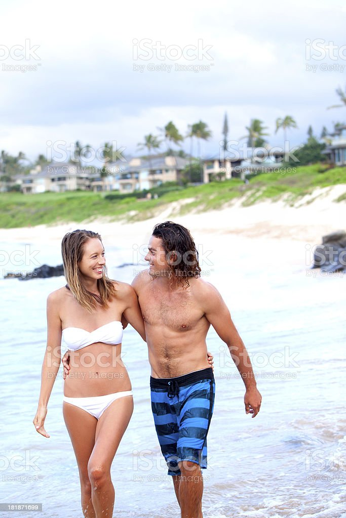 Happy Couple on Beach in Hawaii royalty-free stock photo