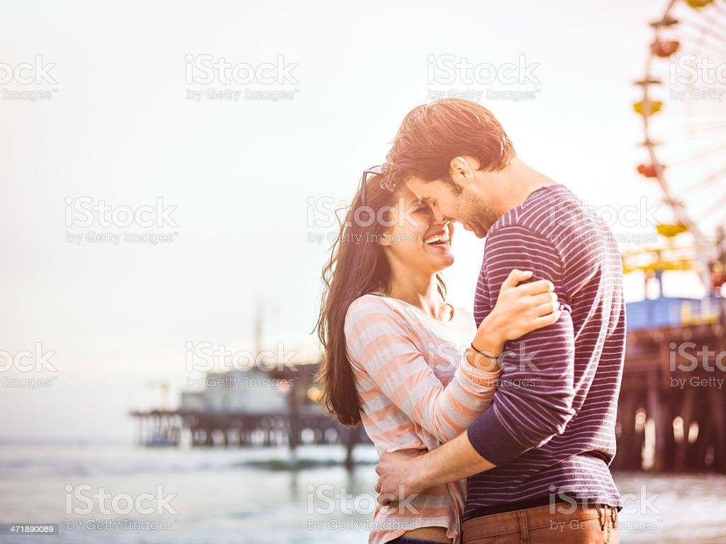 Happy couple on LA beach stock photo
