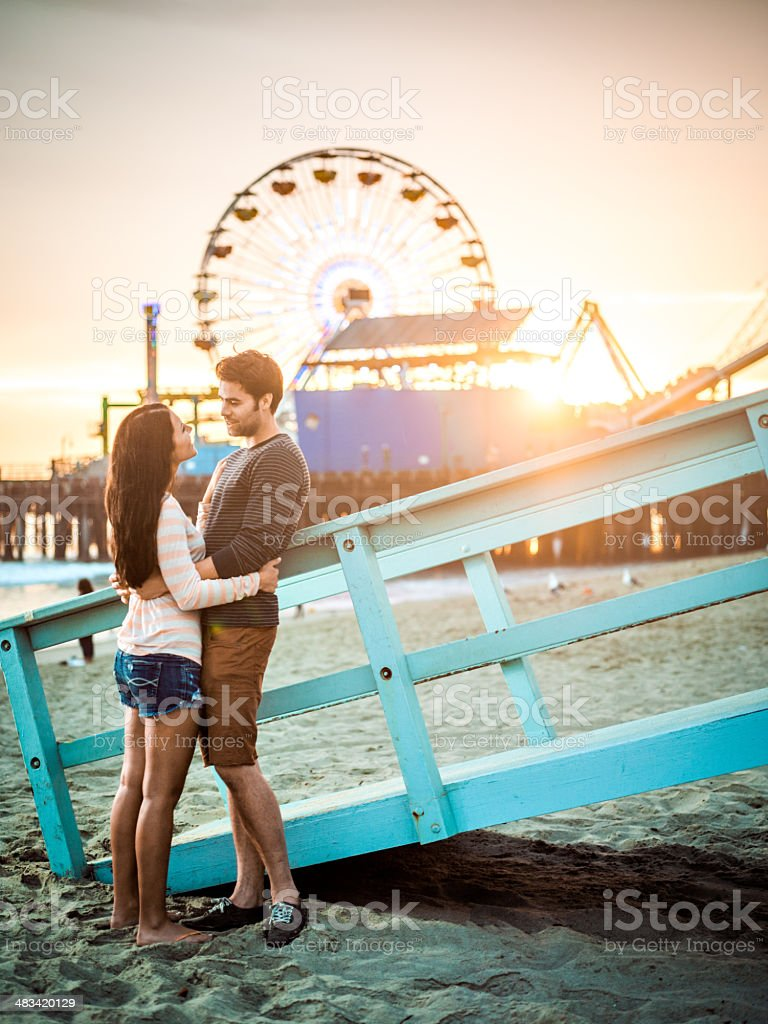 Happy couple on LA beach royalty-free stock photo