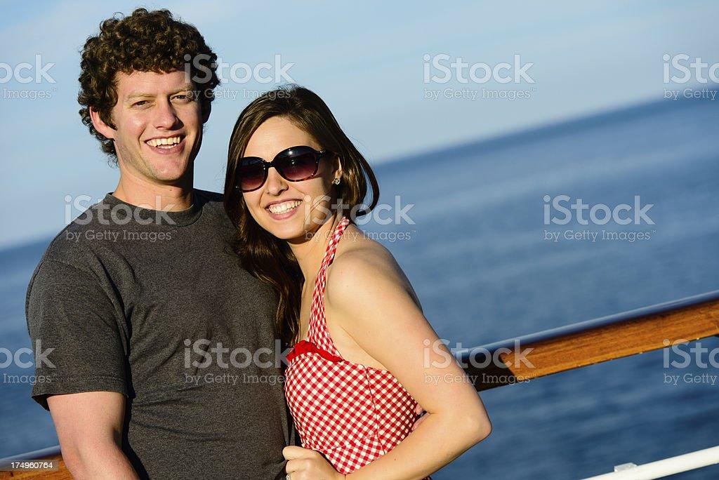 Happy Couple on Cruise Ship royalty-free stock photo