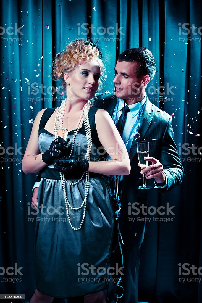 Happy couple on New Year's Eve royalty-free stock photo