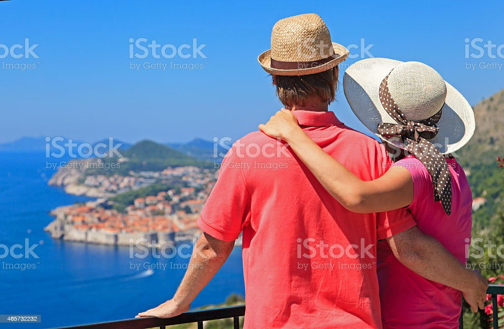 happy couple on summer vacation in Europe stock photo
