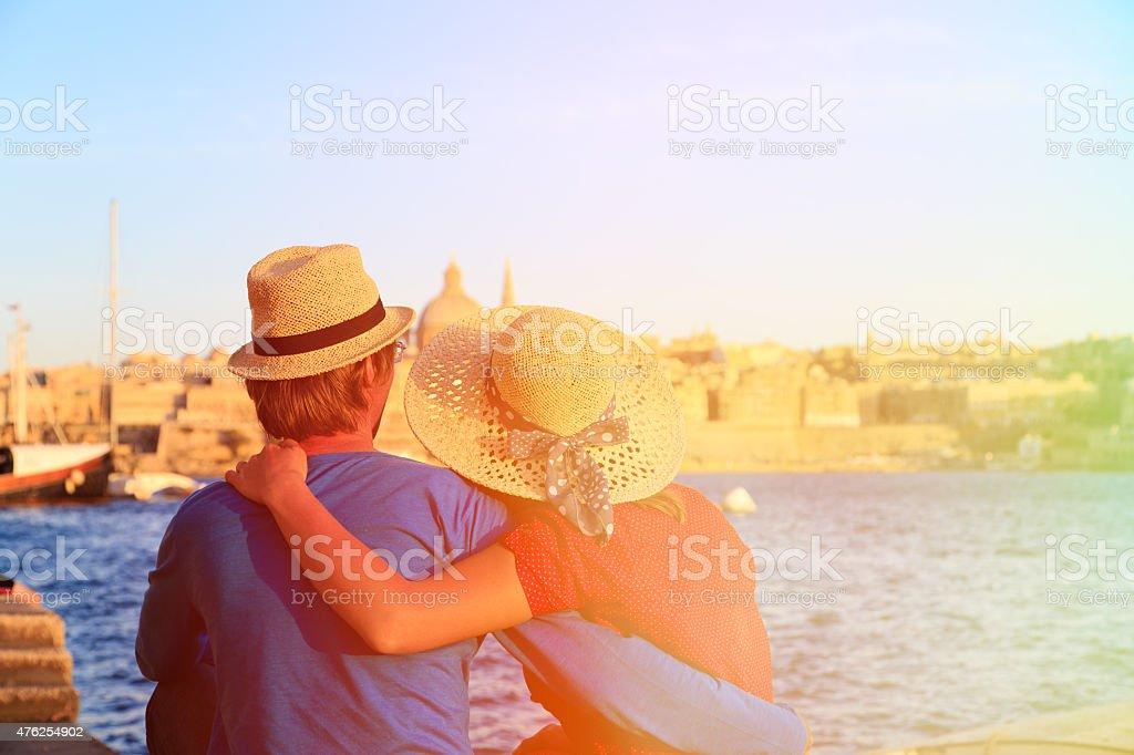 happy couple on summer vacation Malta stock photo