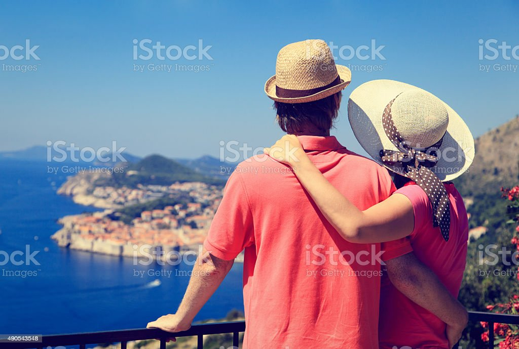 happy couple on vacation in Dubrovnik, Croatia stock photo