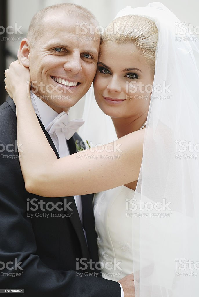 Happy couple on wedding royalty-free stock photo