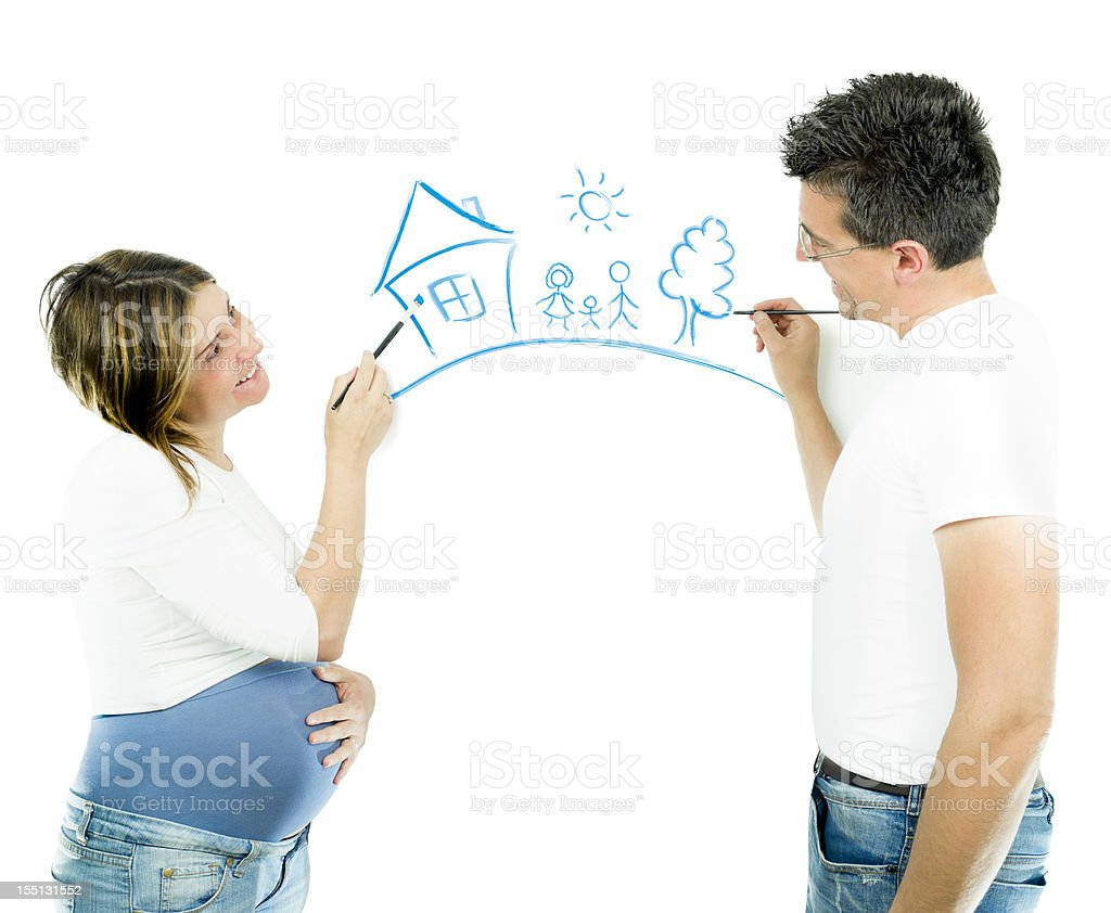 Happy couple painting royalty-free stock photo