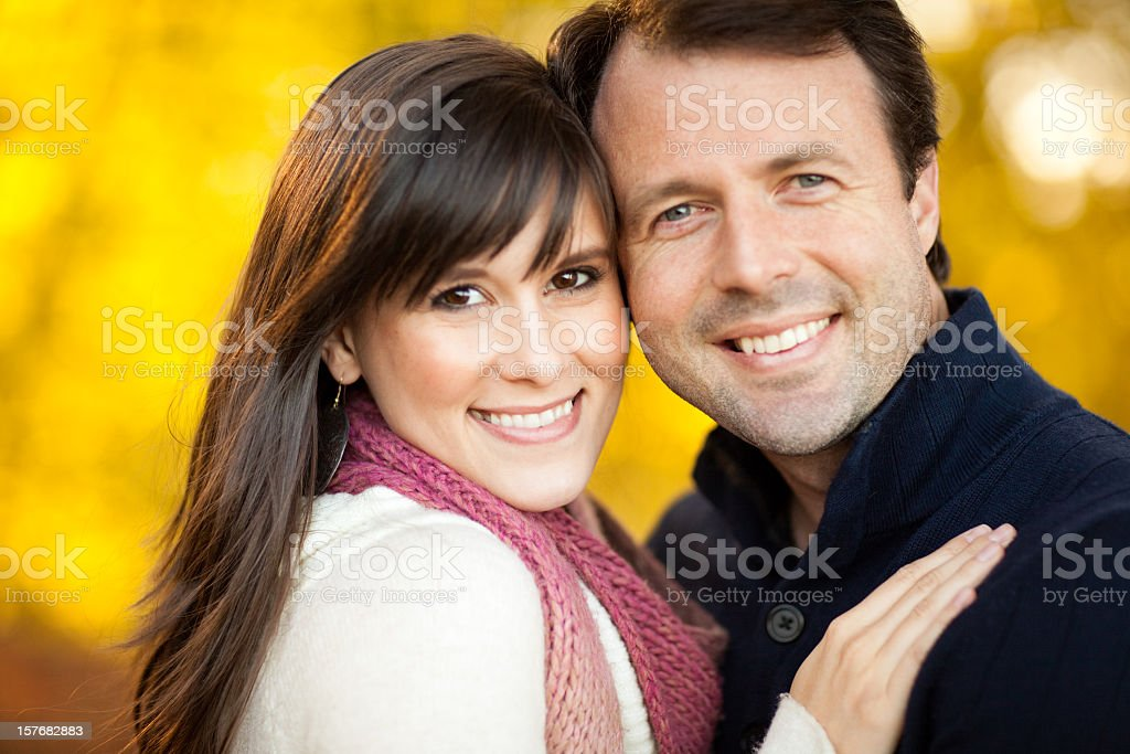 Happy Couple Portrait Outside During Autumn royalty-free stock photo
