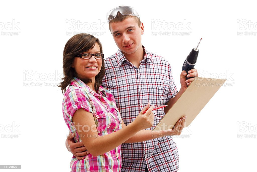 Happy couple 's plans royalty-free stock photo