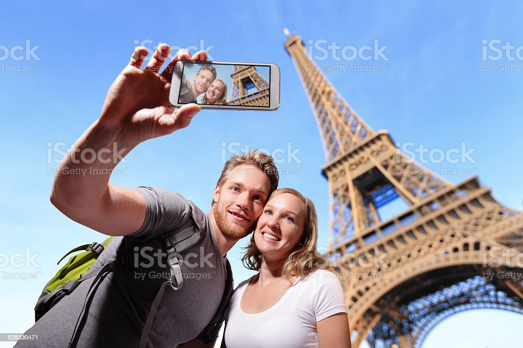 happy couple selfie in Paris stock photo