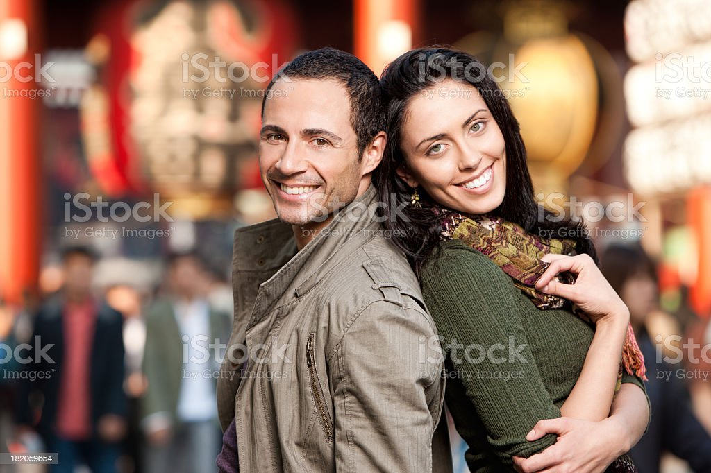 Happy Couple Shopping in Asia royalty-free stock photo