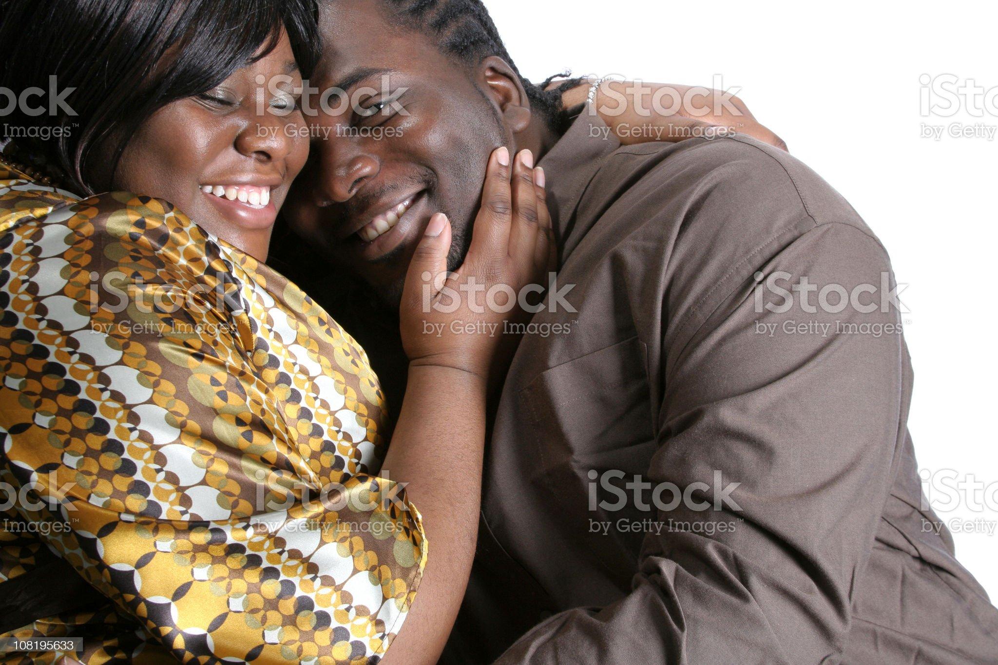 Happy Couple Smiling, White Background royalty-free stock photo
