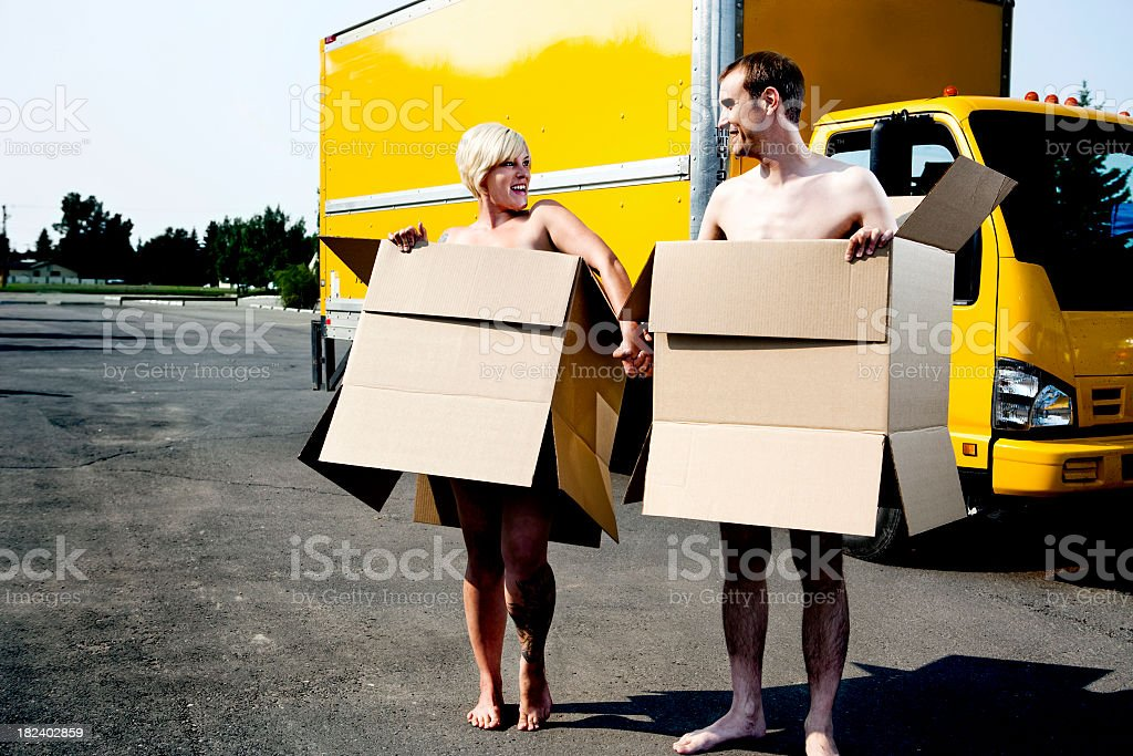 Happy couple starting a new life together royalty-free stock photo