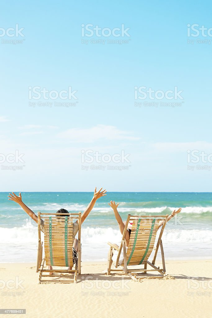 Happy Couple Vacation in Tropical Beach Paradise royalty-free stock photo