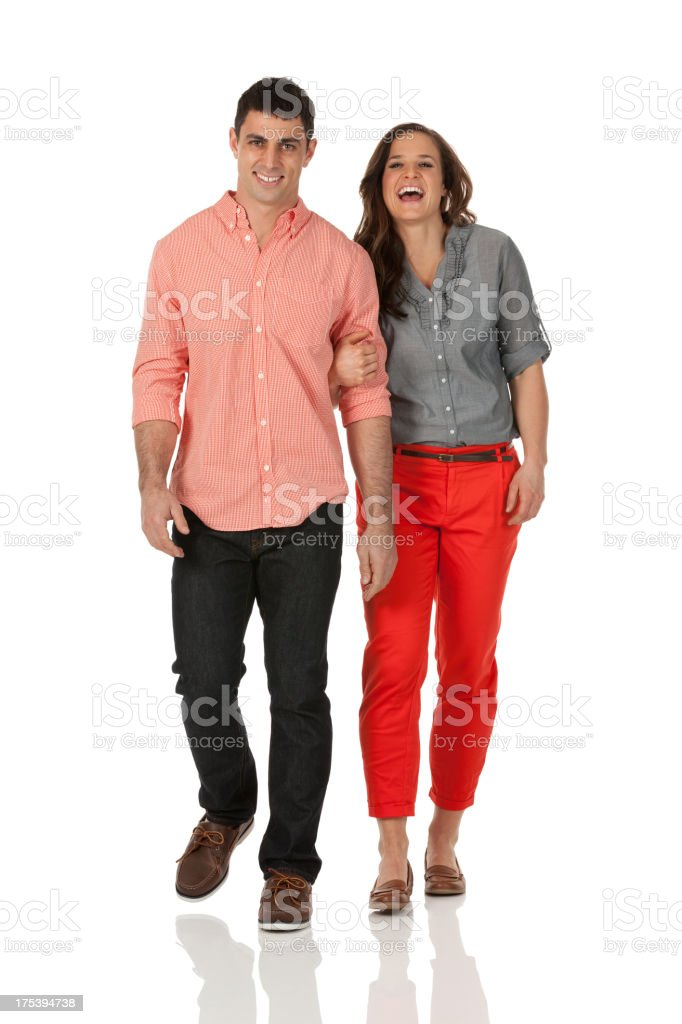 Happy couple walking together stock photo