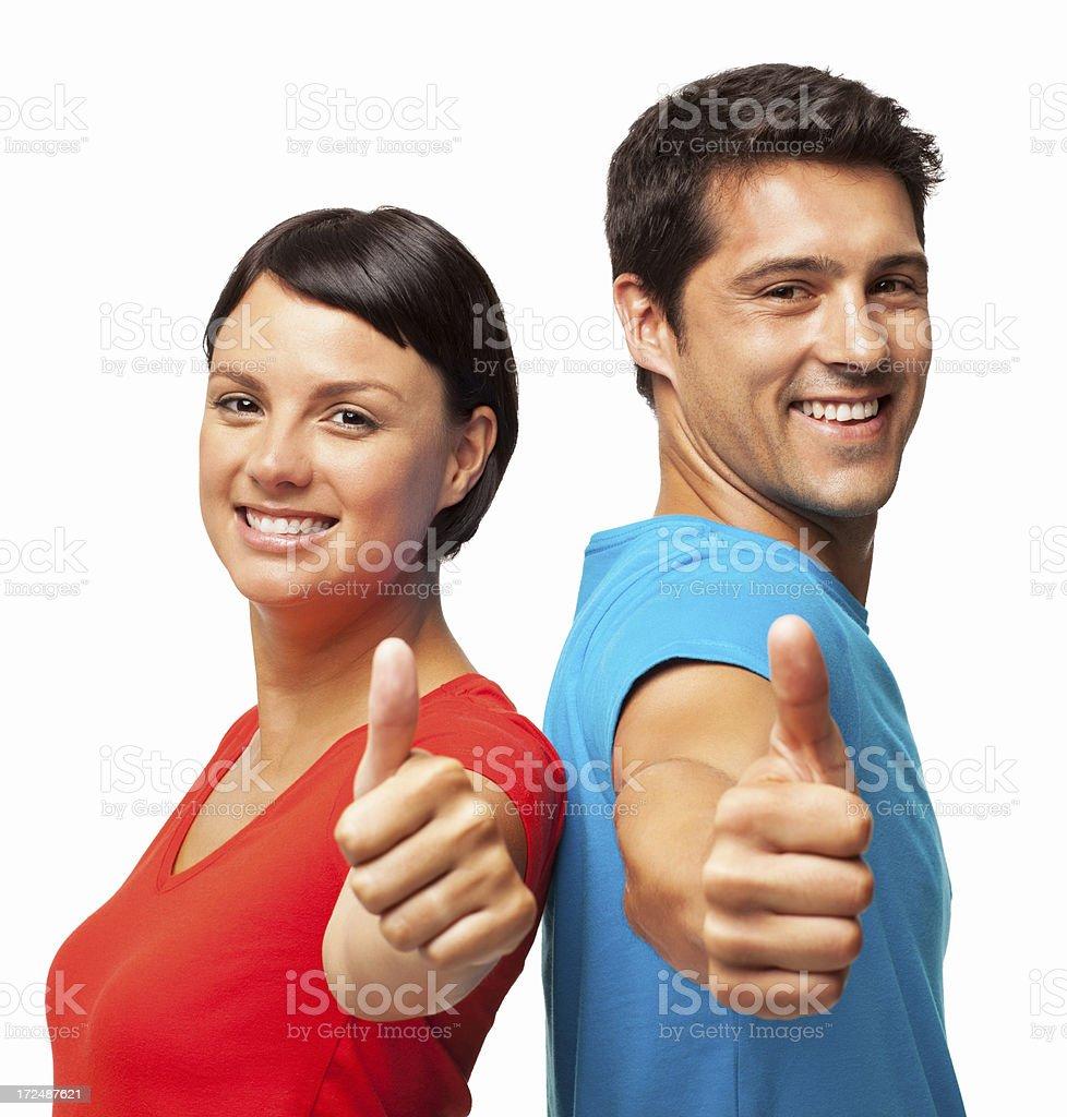 Happy Couple Wishing Good Luck - Isolated royalty-free stock photo