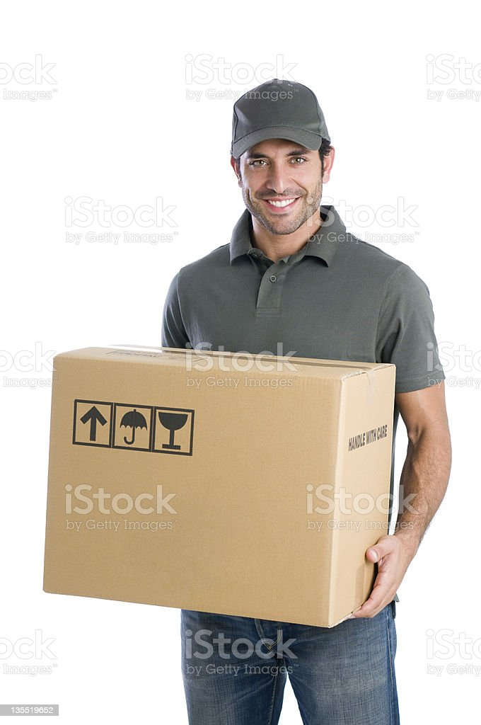 Happy courier with box stock photo