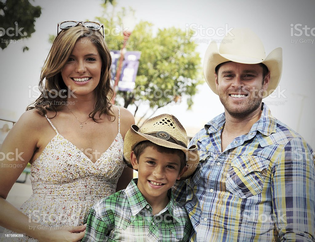 Happy Cowboy Family stock photo