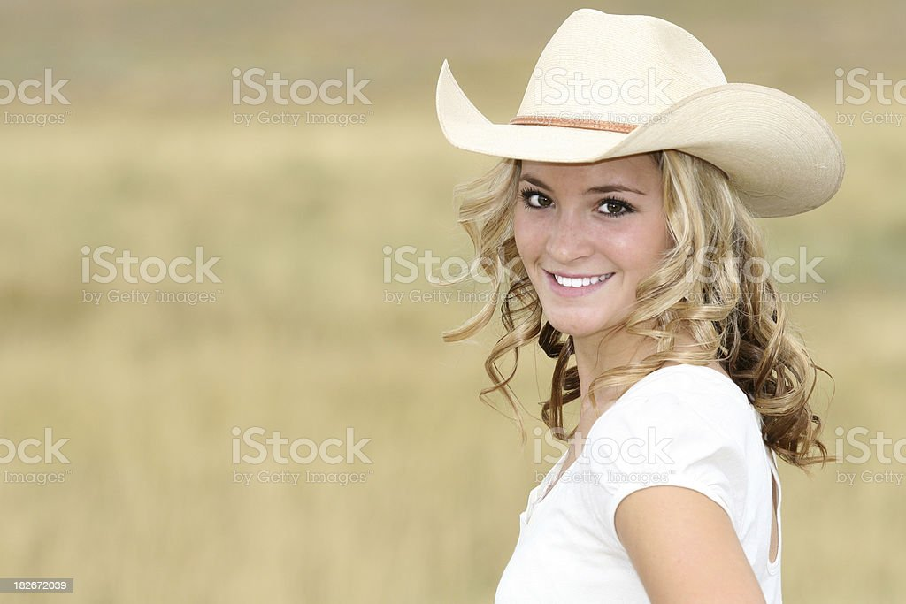 Happy Cowgirl stock photo