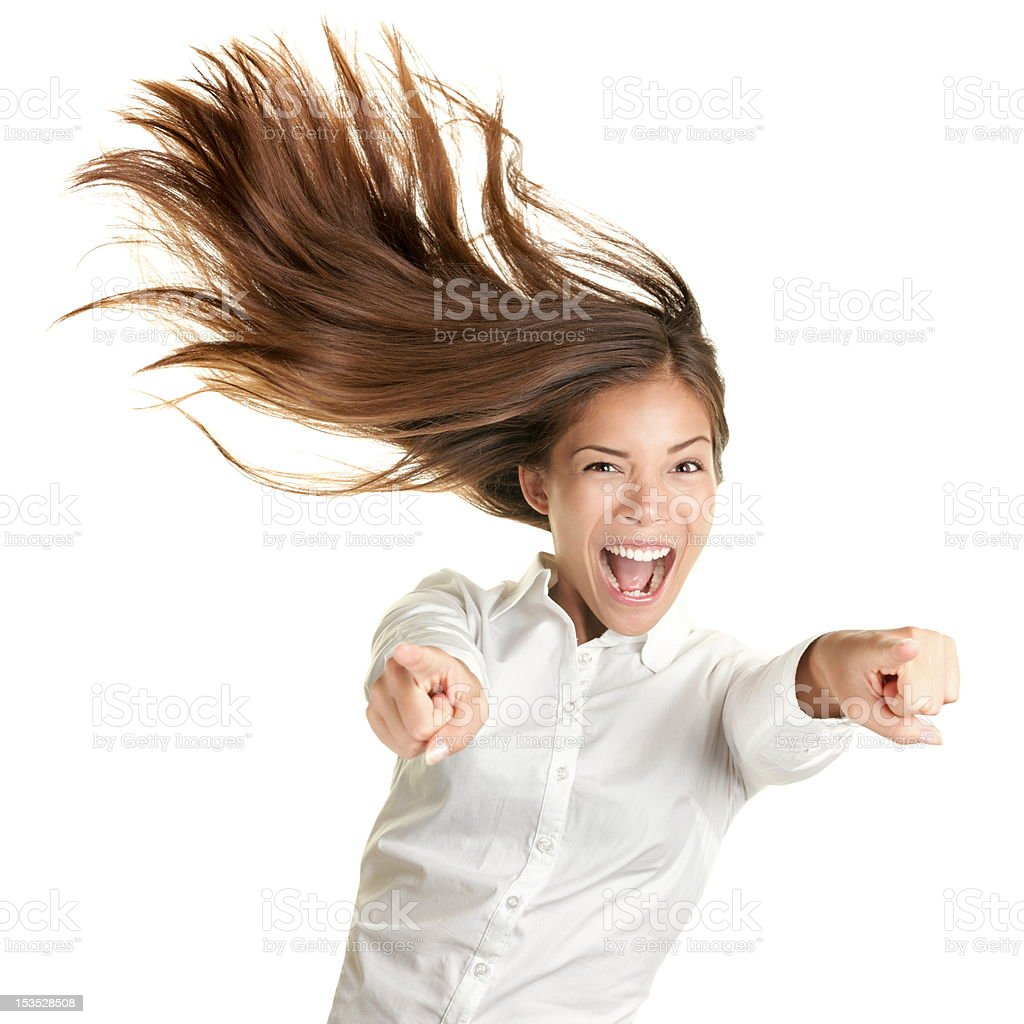 happy crazy excited woman screaming stock photo
