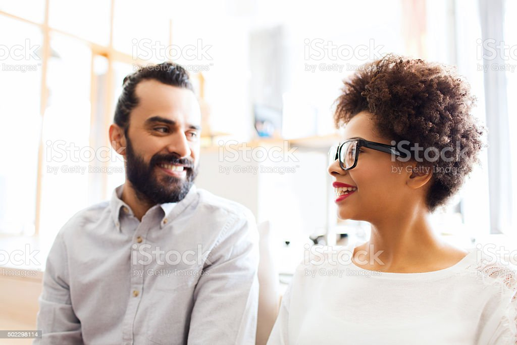 happy creative team in office stock photo