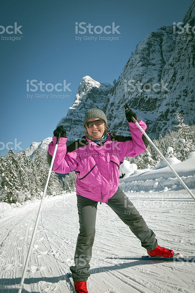 Happy Cross-country Woman Skier Alps Europe royalty-free stock photo